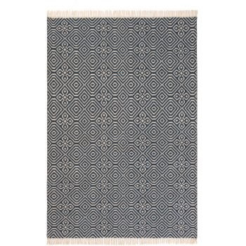 Diamond Pattern Kilim Recycled Rug - Indigo - 120 x 180cm