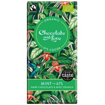 Chocolate & Love Organic Fairtrade Mint 67 percent  Dark Chocolate Bar - 80g