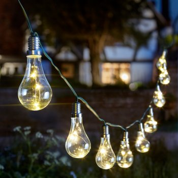 Solar Powered Eureka Lightbulb String Light - 10