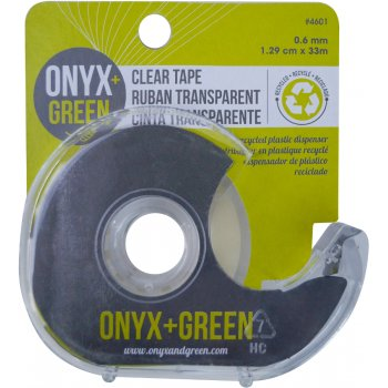 Onyx & Green Clear Tape with Recycled Plastic Dispenser