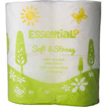 Essential Trading Soft Recycled Toilet Tissue - Compostable film - Pack of 4