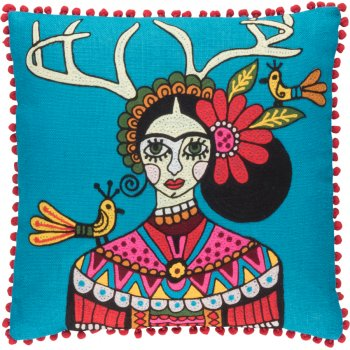 Embroidered Stag Horns Cushion Cover