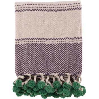 Cotton Tassel and Pom Pom Throw - Purple