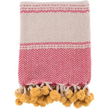 Cotton Tassel and Pom Pom Throw - Pink