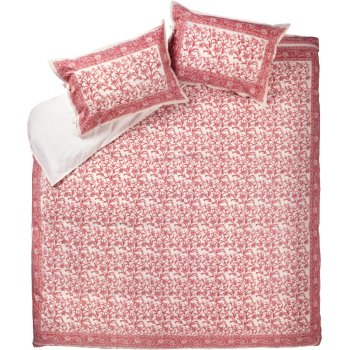 Pink Floral Border Duvet Cover Set - Double