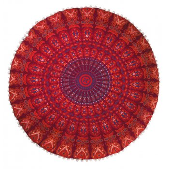 Peacock Print Floor Cushion - Maroon