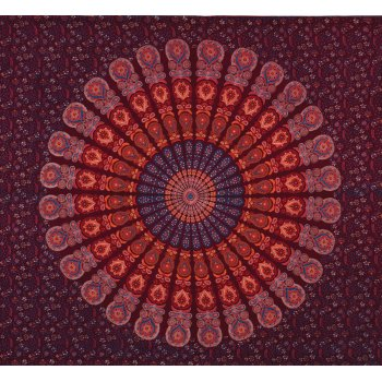 Peacock Print Throw - Maroon