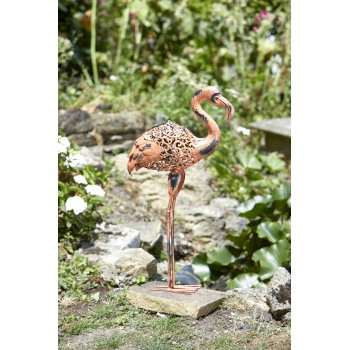 Solar Powered Metal Silhouette Flamingo Light