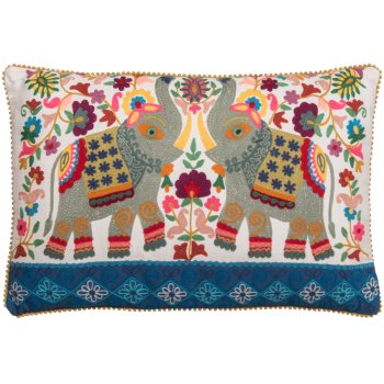 Embroidered Elephant Cushion - White