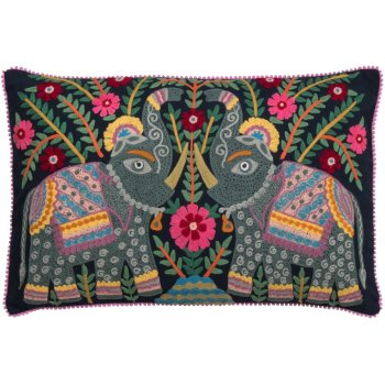 Embroidered Elephant Cushion - Dark Navy