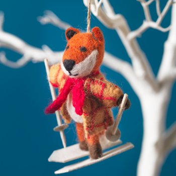 Hanging Christmas Decoration - Mr Fox Goes Skiing
