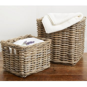 Grey Rattan Square Cube Baskets - Set of 2