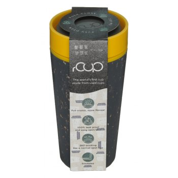rCUP Black & Mustard Reusable Coffee Cup - 340ml