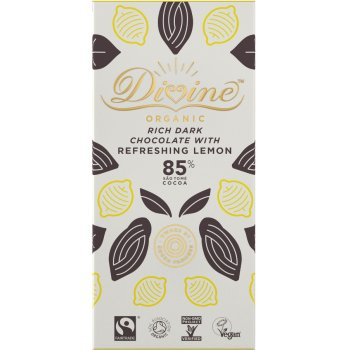 Divine Organic 85 percent  Dark Chocolate with Lemon - 80g