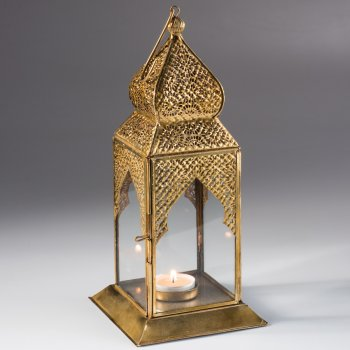 Square Table Top Antique Finish Lantern - Gold