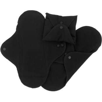 ImseVimse Black Reusable Sanitary Pads - Regular - Pack of 3