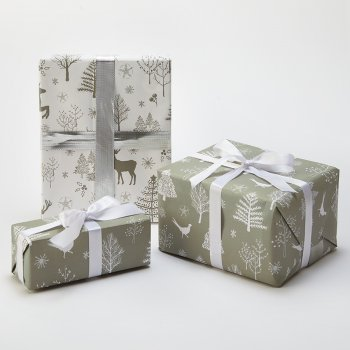 Recycled Wrapping Paper & Tags - Scandi Pheasants & Deer - Pack of 4