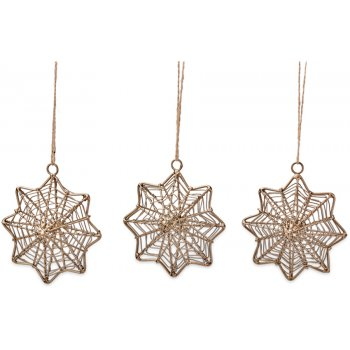 Ngoni Brass Wire Hanging Star Decorations - Set of 3