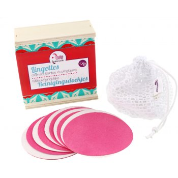 Lamazuna Make Up Removal Pads, Bag & Wooden Box Set - Pack of 10