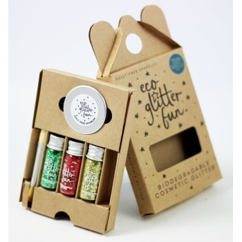 Three Piece Biodegradable Glitter Kit - Red, Green & Gold