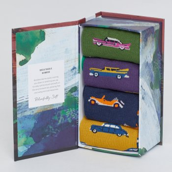 Thought Mens Classic Cars Bamboo Socks Gift Box