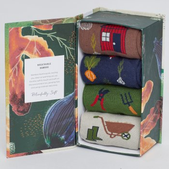 Thought Mens Gardener Bamboo Socks Gift Box - 4 Pairs