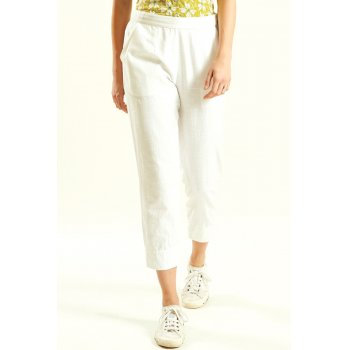 Nomads White Slim Crop Trouser