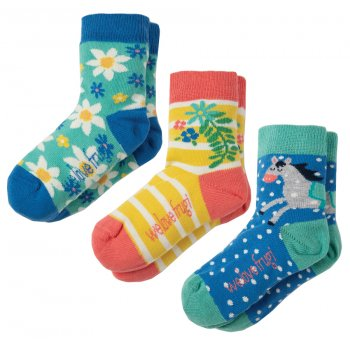 Frugi Flowers & Horses Susie Socks - Pack of 3