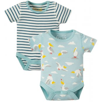 Frugi Stripe Stork Bailey Baby Bodies - Pack of 2