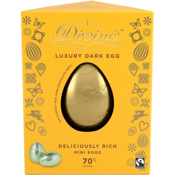 Divine Luxury 70 percent  Dark Chocolate Easter Egg with Dark Mini Easter Eggs - 260g