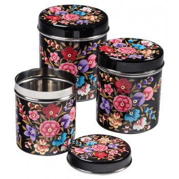 Black Floral Hand Painted Enamelware Storage Tins - Set of 3
