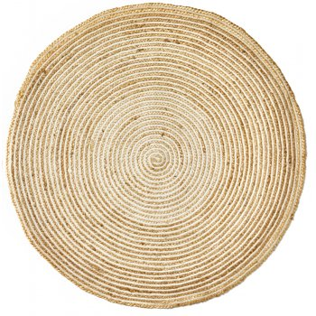 Braided Round Natural Jute & Cotton Rug - 120cm