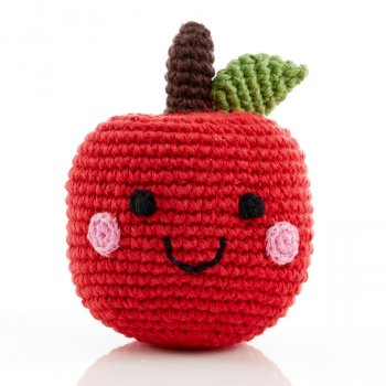 Friendly Fruit Crochet Cotton Red Apple Rattle