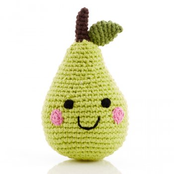Friendly Fruit Crochet Cotton Green Pear Rattle
