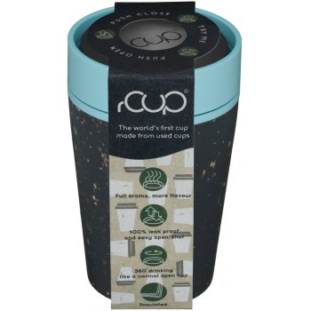 rCUP Black & Teal Blue Reusable Coffee Cup - 227ml