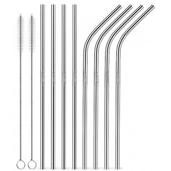 Reusable Metal Straws - Silver - Pack of 8