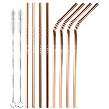 Reusable Metal Straws - Copper - Pack of 8