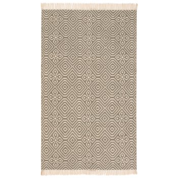 Diamond Pattern Kilim Recycled Rug - Grey - 120 x 180cm