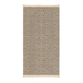 Diamond Pattern Kilim Recycled Rug - Grey - 60 x 110cm