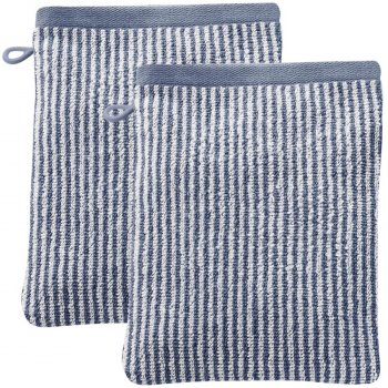 Barcelona Organic Cotton Wash Glove - Blue Stripe - Pack of 2