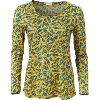 Nomads Citrine Leaf Pattern Long Sleeve Top