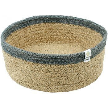 Respiin Natural & Grey Shallow Jute Basket - Medium