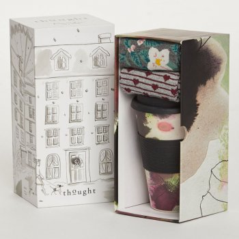 Thought Womens Floral Bamboo Cup & Socks Gift Set