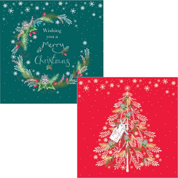 Wreaths & Trees Luxury Mixed Charity Cards - Pack of 10