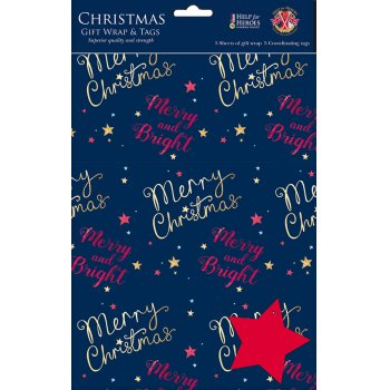 Help for Heroes Starry Christmas Gift Wrap & Tags - Pack of 5