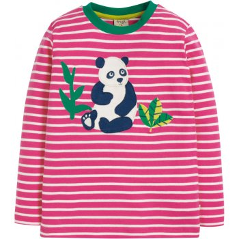 Frugi Flamingo Stripe Panda Discovery Applique Top