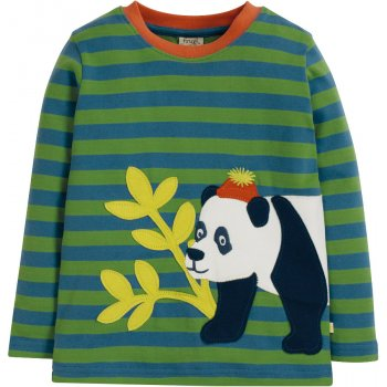 Frugi Meadow Stripe Panda Discovery Applique Top