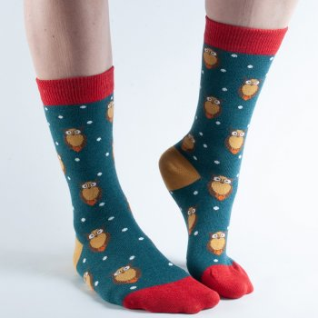 Doris & Dude Teal Owl Bamboo Socks