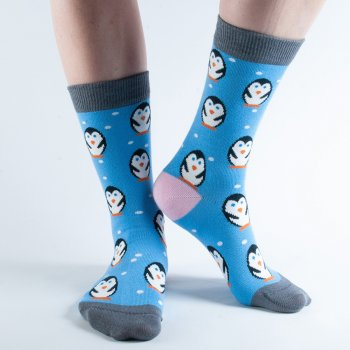 Doris & Dude Blue Penguin Bamboo Socks