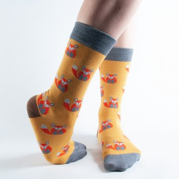 Doris & Dude Mustard Fox Bamboo Socks